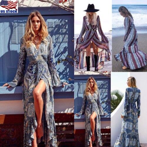 2019 Women Summer Boho Chiffon V Neck Party Evening Beach Dresses Long Maxi Dress Sundress