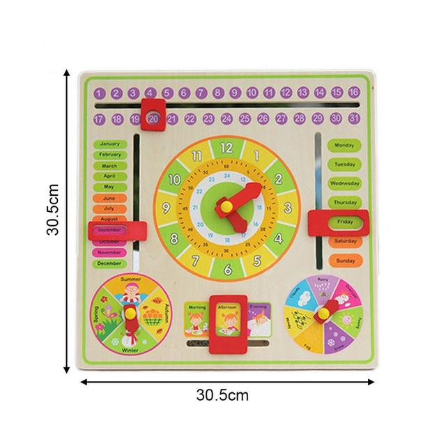 Creative Wooden Clock Learning Toy Baby Kids Date Time Cognition Developmental Versatile Flap Abacus Clock Educational Toy