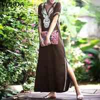 VONDA Frauen Gedruckt Maxi Kleid 2019 Sommer Casual Sexy V-ausschnitt Kurzarm Split Saum Soild Kleid Elegante Vestidos Übergroßen