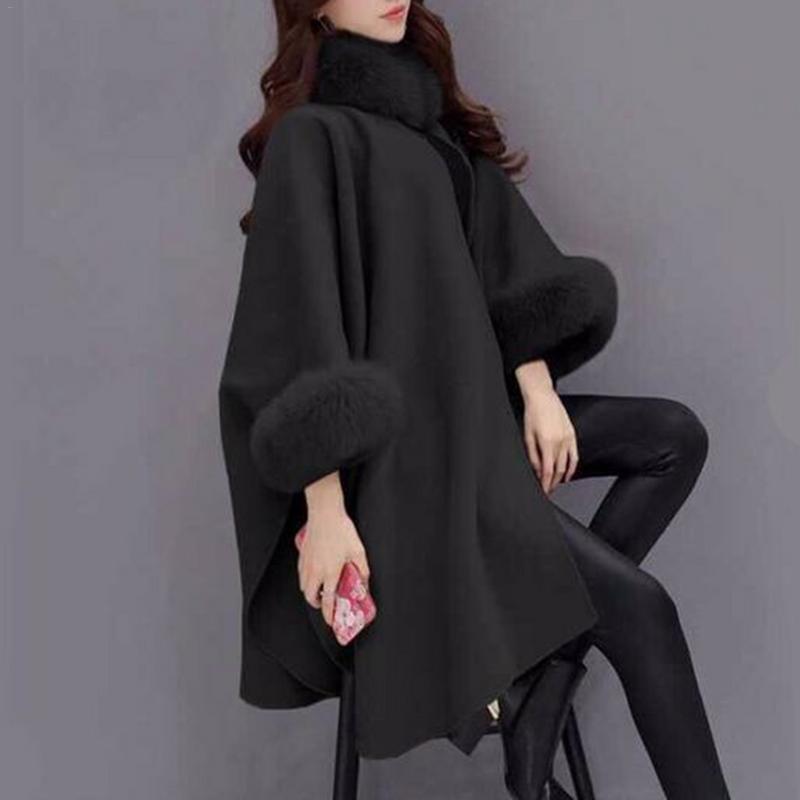Woolen Coat Plus Size Long Winter Coat Women Overcoat Camel Poncho Shawl Cape Feminino Warm Outerwear Poncho Femme Cotton Blend