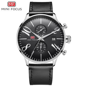MINI FOCUS Black Watch Men Sports Watches For Clock Leather Strap Fashion Mens Wristwatch Quartz Luxury Brand Relogio