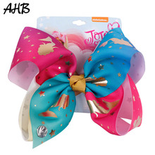 AHB Hair Accessories Large Bows for Girls Unicorn Clips Gold Print Rainbow Ribbon Hairgrips Party Kid Headwear