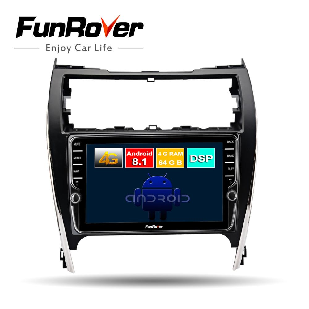 Funrover 8 core android 8.1 voiture dvd multimédia pour Toyota Camry 50 2012 2013 2014 radio gps système de navigation navi stéréo DSP BT