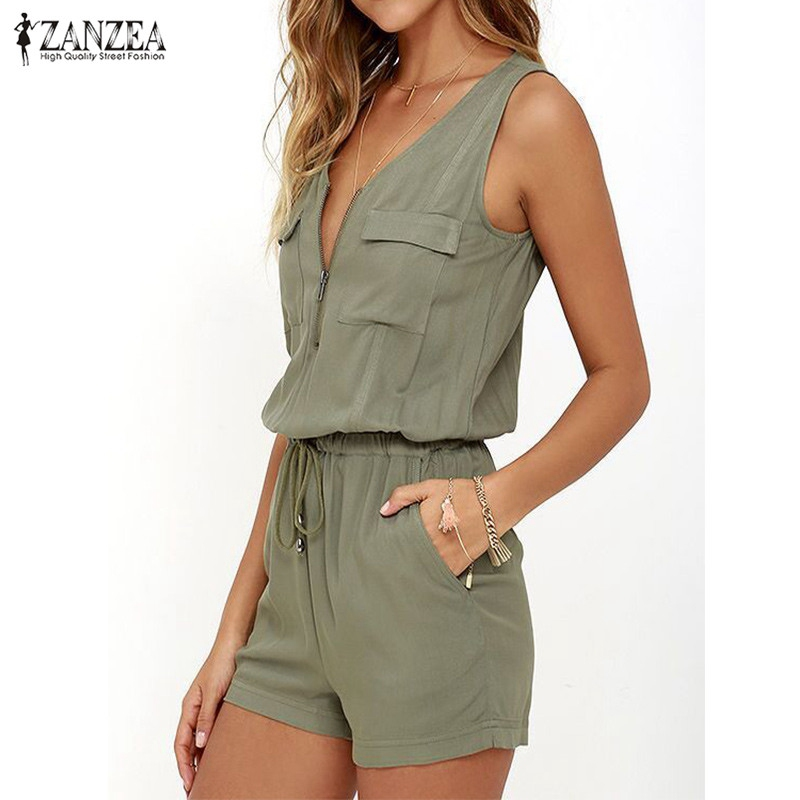 Summer ZANZEA 2019 Rompers Womens   Jumpsuit   Sexy V Neck Sleeveless Zipper Playsuits Plus Size Casual Solid Bodysuit Beach Overall