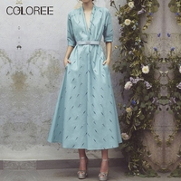Spring Vintage Blue Floral Printed Midi Ball Gown Dress Women 2019 V neck Half Sleeve Ankle Length Dress With Pocket