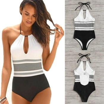 2019 Sexy Women Halter Monokini Push Up One-Piece Swimsuit Padded Swimwear Beachwear Bathing Suit Swimming Costume Monokini