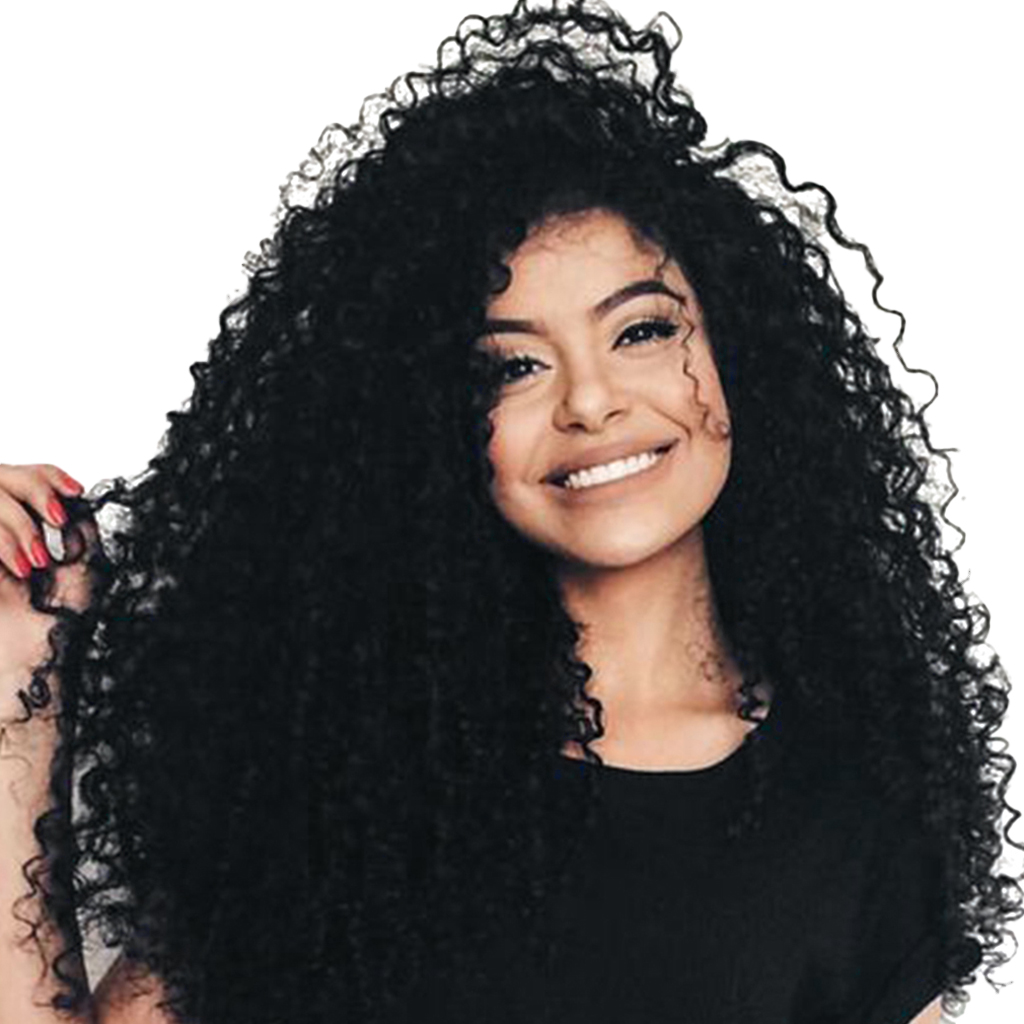 Women Black Afro Spiral Full Wigs Lace Front Synthetic Curly Wig Heat OK 26 inch Beauty Women Wig Heat Resistant trendy fluffy elegant bright honey blonde long wavy heat resistant synthetic women s lace front wig