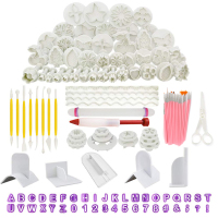 129pcs Sugarcraft Icing Plunger Cutters Alphabet Numbers Mold Rolling Pin Smoother Kit Cake Fondant Decorating Tools For Baking