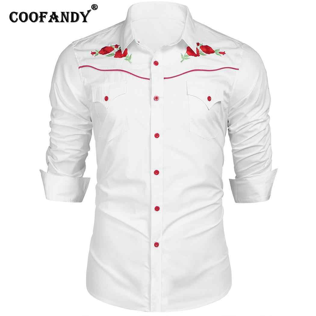 ab17bc56e85 ... Pockets Western Sleeve Spring Casual Shirt Floral Men Rose Long Button  Autumn Embroidered Embroidery Pattern ...