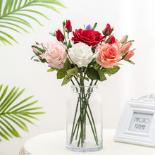 Lan Kwai Fong Simulation Rose 1 Flowers 2 Bud Artificial Plant Home Wedding Decoration Potted Plants Flower Arrange