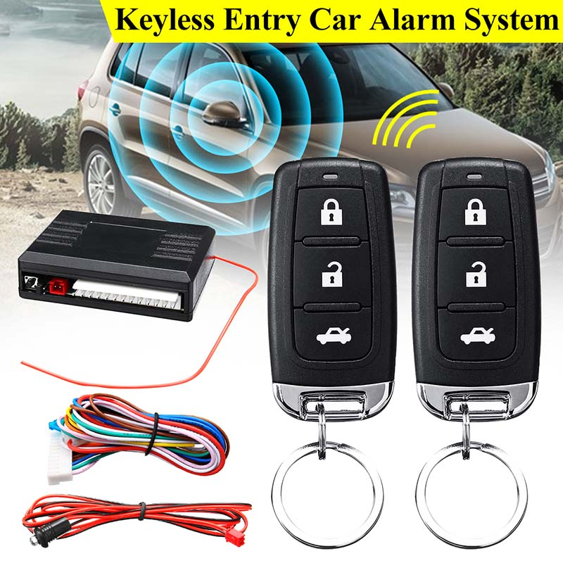 KROAK Universal 1-Way Car Alarm Vehicle System Protection Security System Keyless Entry Siren + 2 Remote Control Burglar