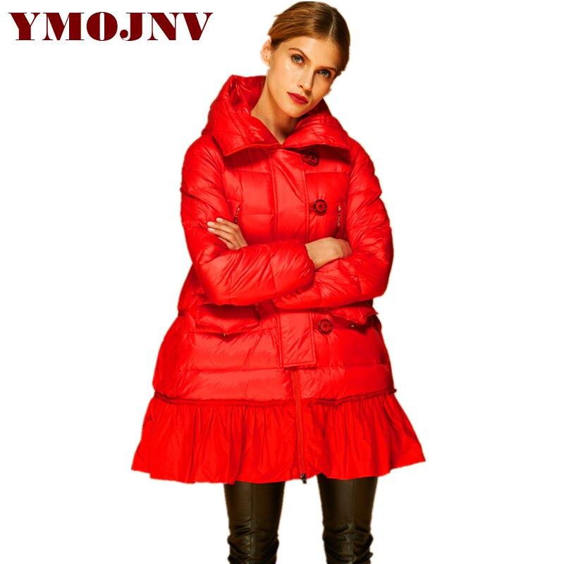 YMOJNV haute qualité solide à capuche une ligne épaisse chaud Oversize femmes hiver vestes d'hiver femme manteau femme veste Outwear