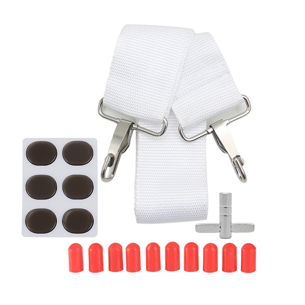 Snare Drum Accessories Kit Drum Strap + 10pcs Drumstick Silicon Tips + 6pcs Drum Damper Gel Pads Muffler Mute + 1pc Wrench
