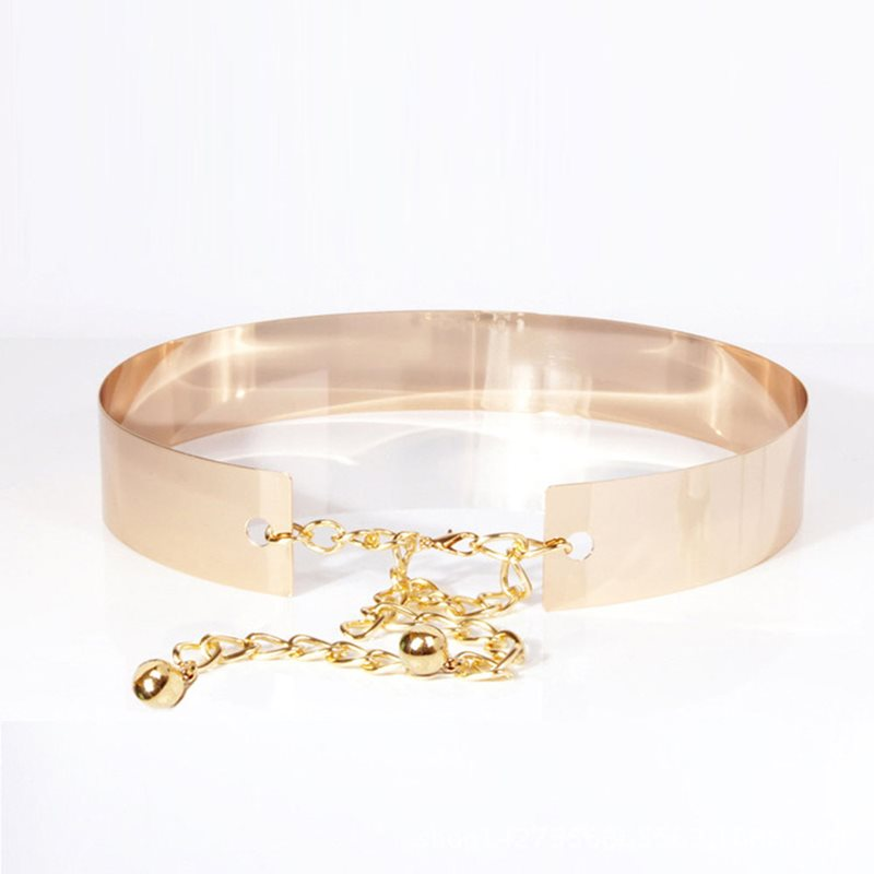 2019 New Metal Chain Belt Women Mirror Silver Luxury Fashion Waist Belts Ladies Waistband Gold Chic Wide Belt Accessories 100cm