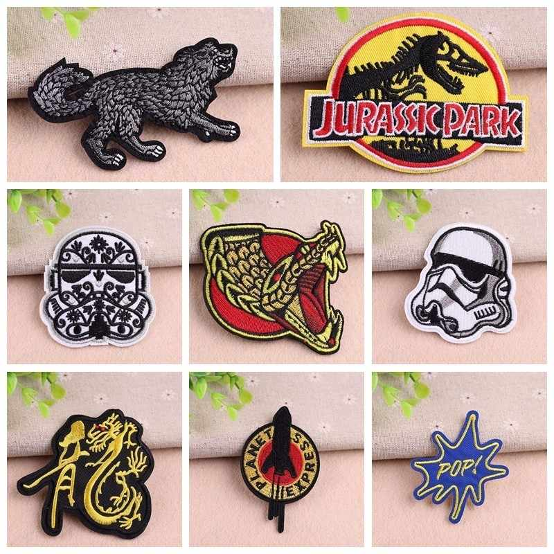 Animal Star Wars Robot Badge Punk Chinese Dragon Patch  Embroidery Biker Patch Motorcycle Patches For Clothes Jeans Vest Patch