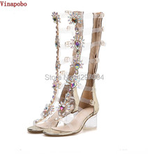 Clear PVC transparent Sandals Thick Heels Woman Knee High Rhinestone Gladiator Sandal Long Boots Bohemia Crystal Beach Shoes(China)