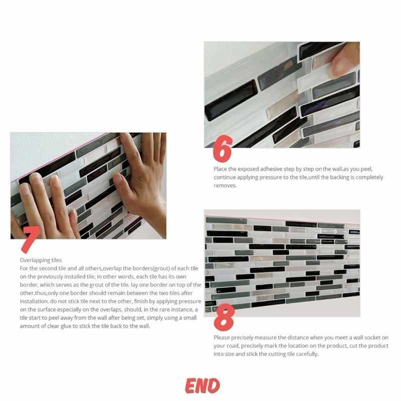 Marble Mosaic Brick Peel And Stick Wall Tile Self Adhesive Backsplash DIY  Kitchen Bathroom Home Wall Sticker Vinyl 3D