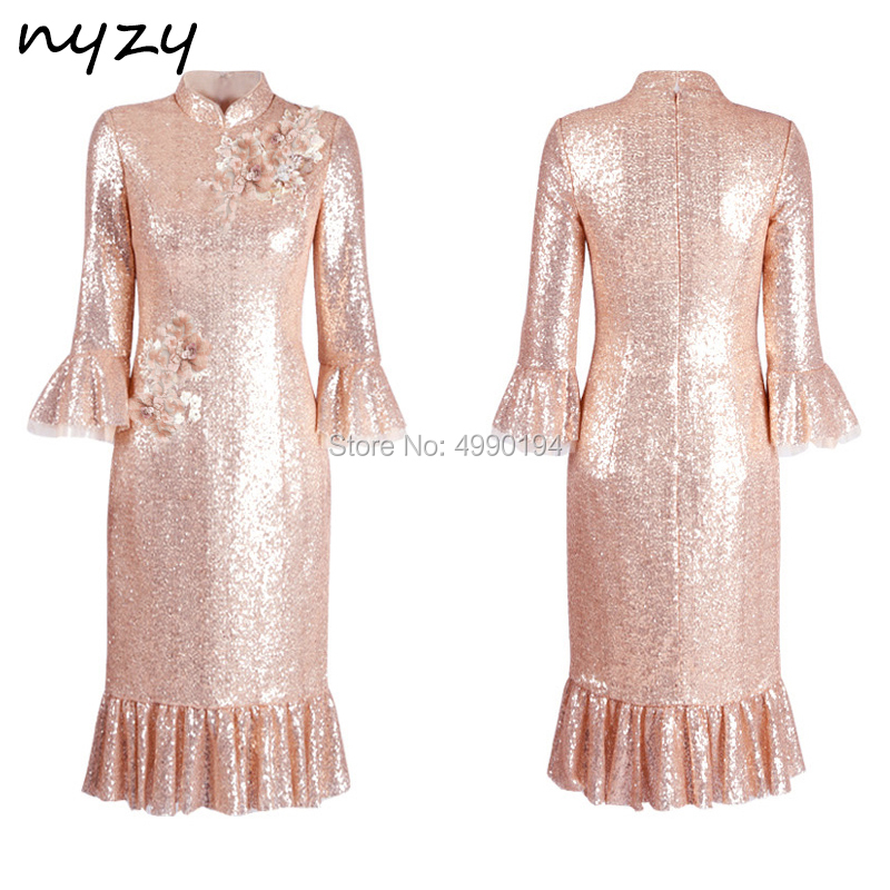 NYZY C38 Sequin Gown High Neck 3/4 Sleeves Tea Length robe de   cocktail   longue soiree   Cocktail     Dress   for Wedding Party 2019