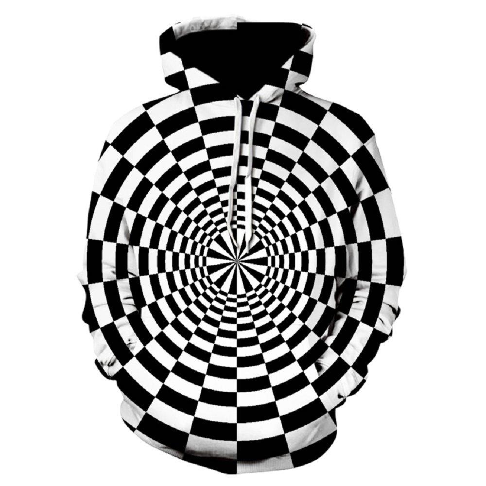 2018 Gratis Verzending Zwart En Wit Geometrie Vertigo Hypnotische Afdrukken Mannen Tops Hoodies Unisxe Grappige Mannen 3d Hoodies