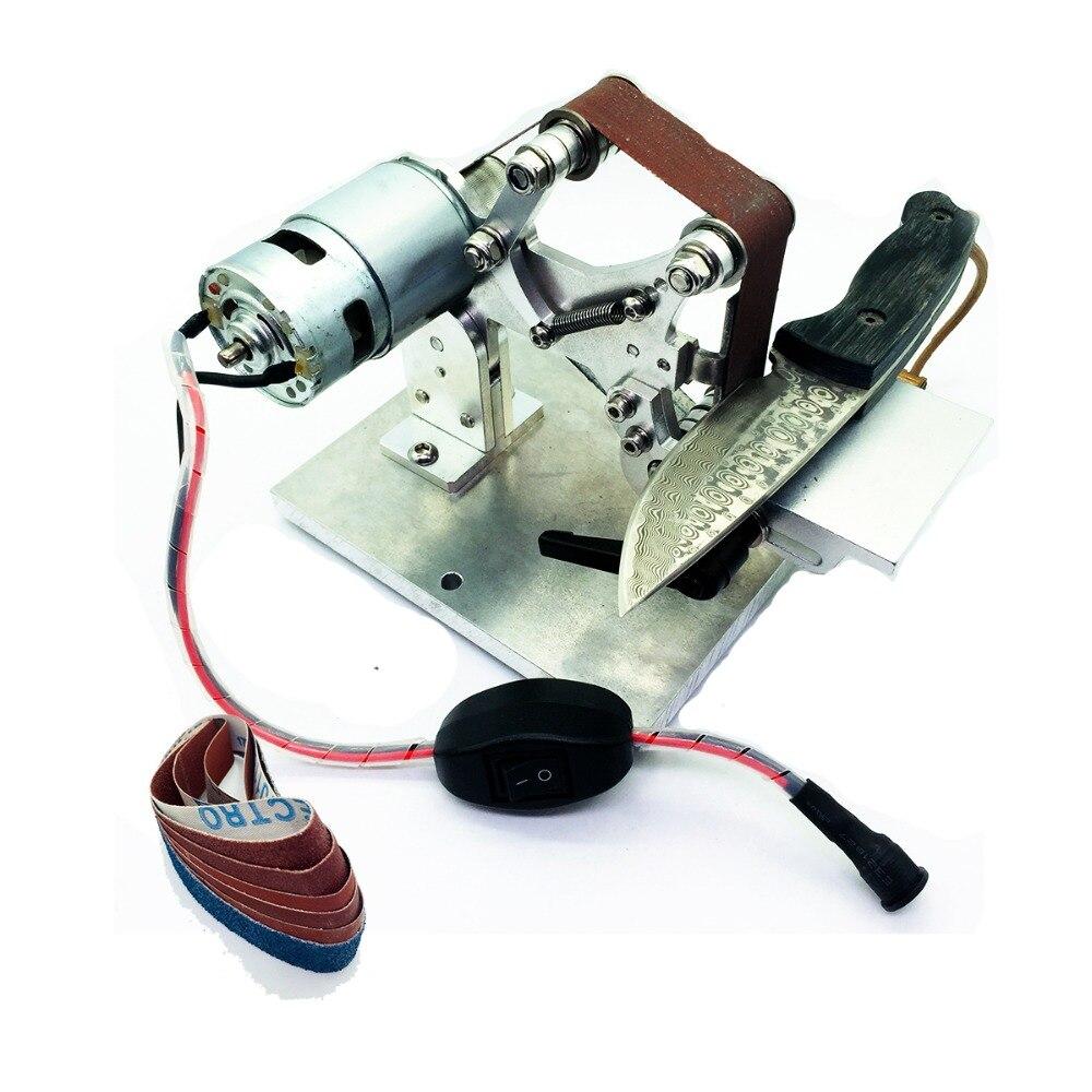 Ww-troisième version électrique Mini machine à bande Abrasive travail couteau tranchant ener système de durcissement tranchant couteau ouvert V outil