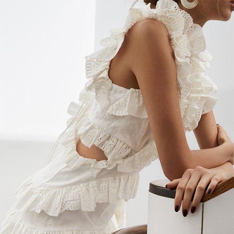 TWOTWINSTYLE Primavera Del Merletto Scava Fuori Volant Abiti Donna Senza Maniche A Vita Alta Mini Vestito Per Le Donne di Modo Coreano 2019 Vestiti-in Abiti da Abbigliamento da donna su  Gruppo 3