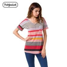 Pickyourlook Women Tshirt Striped Casual Basic Linen Elastic Streewear Loose Waist Slim Shirt Minimalist Cotton Summer Camisa
