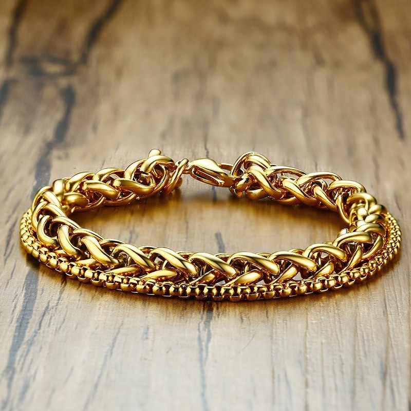 Men's Chain Bracelet Stainless Steel Double Links Gold Color Punk Rock Hand Bangle Wrist Accessories 8.5""