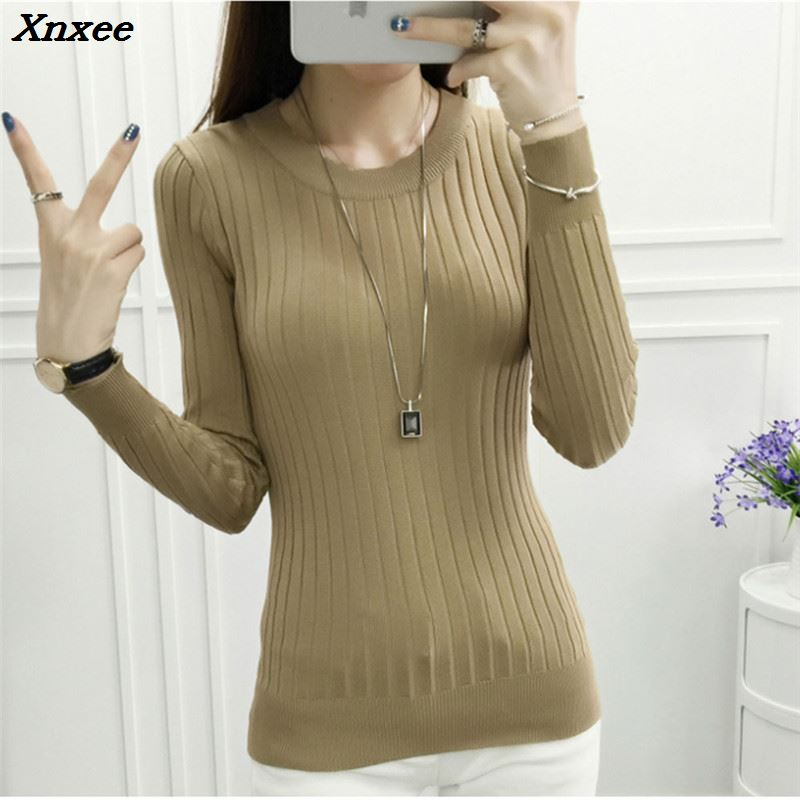 Autumn Winter Women Sweater 2018 New High Elastic Turtleneck Pullovers Female Solid Color Knitted Sweater Lady Slim Tops Xnxee in Pullovers from Women 39 s Clothing