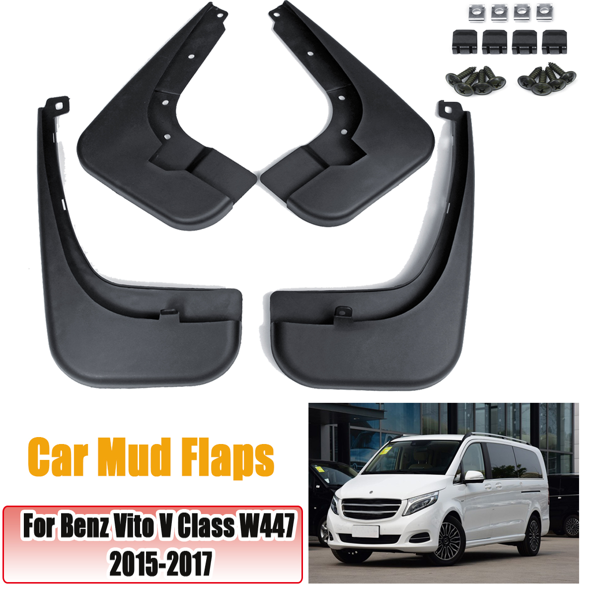Car Front Rear Mud Flaps For Benz Vito V Class W447 2015 2016 2017 For Fender