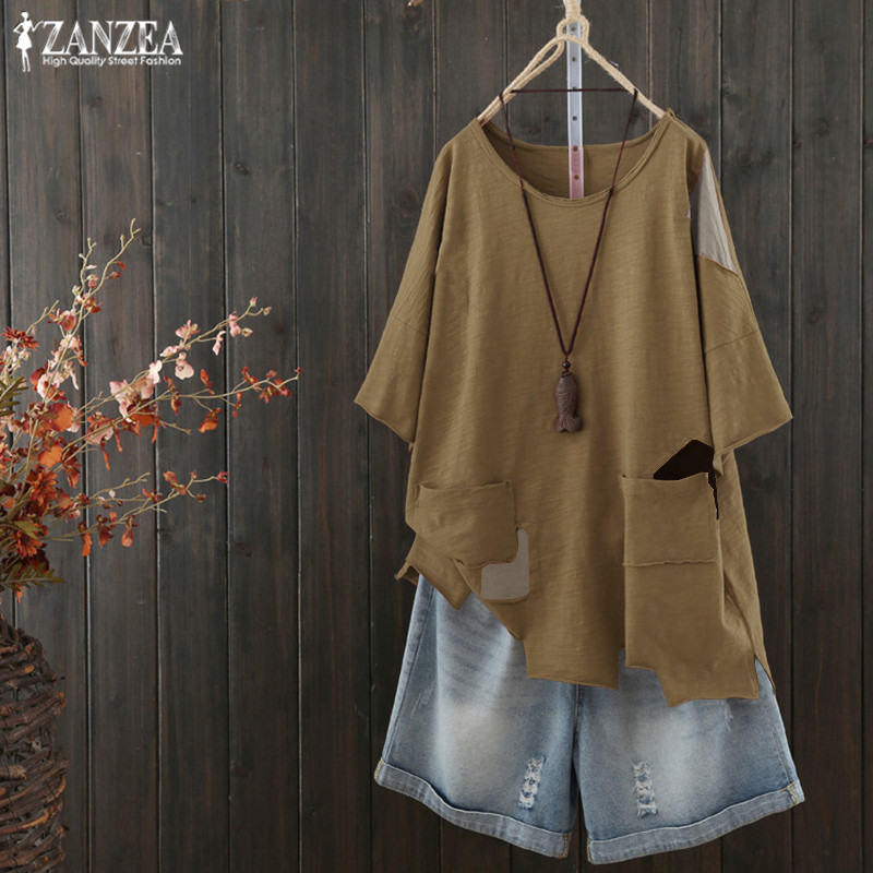 Blouses & Shirts Knowledgeable Stiching Blouse Zanzea 2019 Summer Shirts Women Vintage Casual Asymmetrical Blusas Chemise Plus Size Tunic Tops Kaftan Tee Aromatic Character And Agreeable Taste