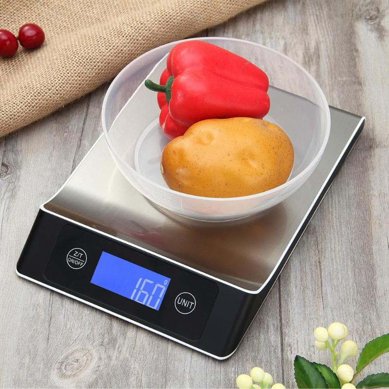 15kg/1g Electronic Kitchen Scale Digital Food Scale Stainless Steel Weighing Scale LCD High Precision Measuring Tools