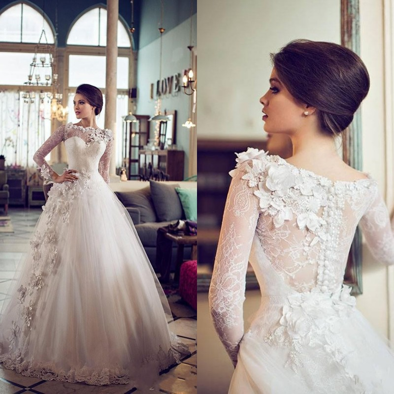 Lace 2017 Beautiful Long Sleeved Wedding Dresses With Bateau ...