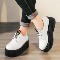 Women Flat Shoes Creepers Platform Casual Shoes Ladies Lace up Oxfords Spring Autumn Fashion Round Toe Female Loafers Footwear