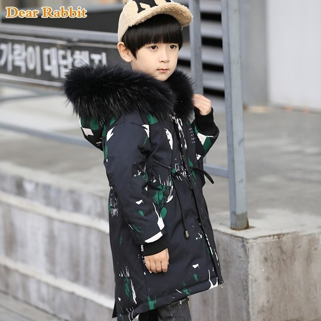 Best Offers 2018 New Hooded Winter warm down Jackets Graffiti Camouflage parka real fur For Teenagers boys Thick Long Coat Kids girl Clothes