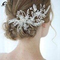 Shinny Crystal Bridal Wedding Head Piece Bride Headwear Headband Hair Comb Handmade Flower Women Party Jewelry Accessories