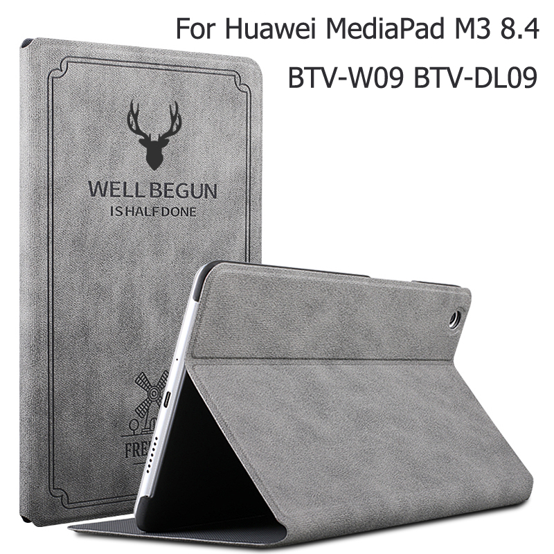 New Magnetic Matte Leather Smart Case For Huawei MediaPad M3 8.4 BTV-W09 BTV-DL09 Auto Wake Sleep Stand Flip Cover + Gift
