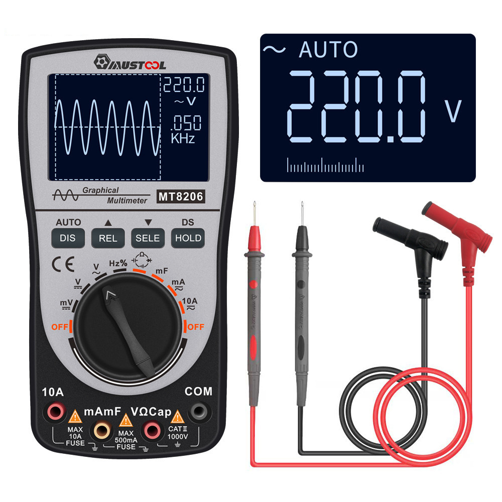 Upgraded MUSTOOL MT8206 2in1 Intelligent Digital Oscilloscope Multimeter Current Voltage Resistance Tester with Analog Bar Grap