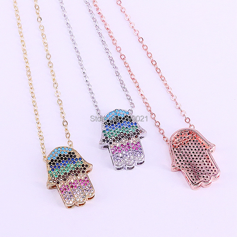 10Pcs New Fashion Cubic Zirconia Hamsa Hand Charms Pendant Micro Pave CZ Womens Girls Jewelry Necklace