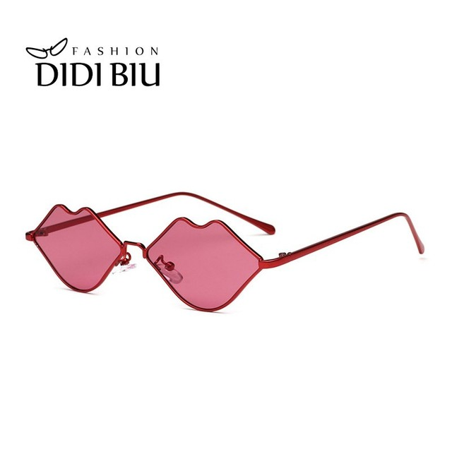 2fbd724f30 Personality Small Lips Sunglasses Women Brand Sexy Red Shades Sun Glasses  Ultra Light Metal Frame Trend