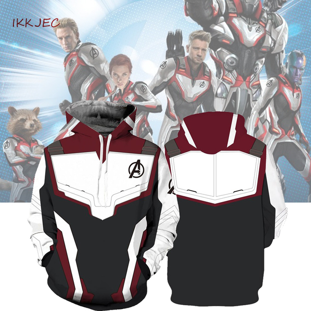 9c1ea1b3dbc Hoodie Cosplay Avengers Endgame Quantum Realm Sweatshirt Jacket Advanced  Tech Costumes Avengers End Game Hood Superhero Hoodies
