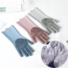 1Pair Car Wash Magic Silicone Rubber Glove Dish Washing Cooking Cleaning Heat Resistant Kitchen Tool-3Colors