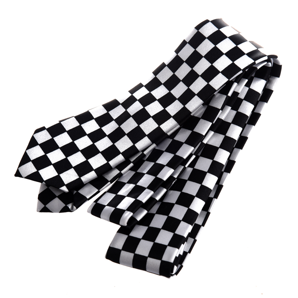 Mens Black White Plaid Checkered Necktie Neck Tie