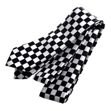 Mens Black White Plaid Checkered Necktie Neck Tie buttoned keyhole self tie checkered dress