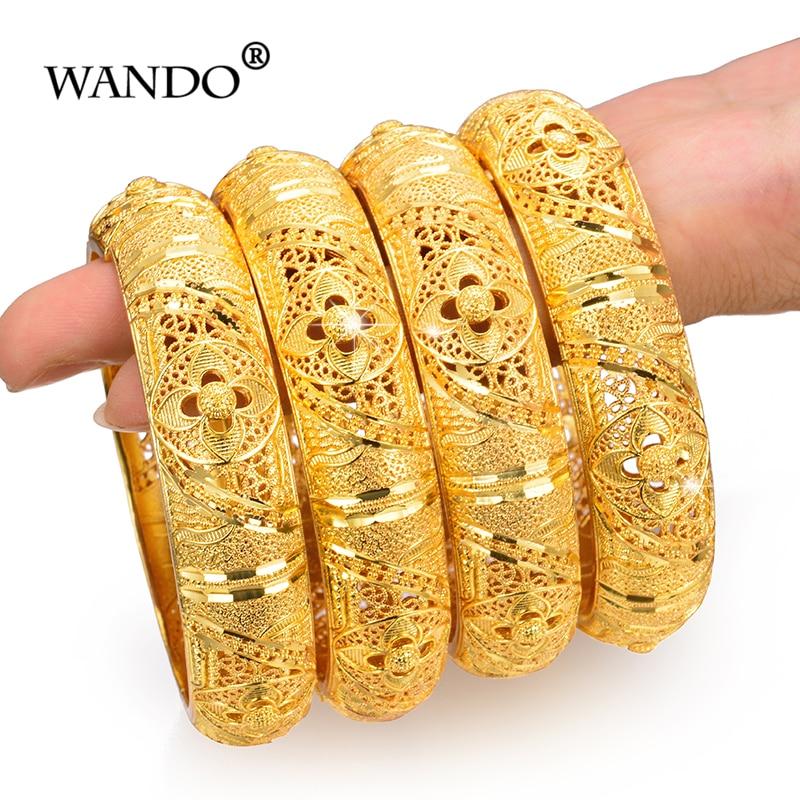Wando 4 Uds. Brazaletes de joyería de Color dorado para mujeres y niñas brazaletes de novia de Joyería Árabe/etíope joyería de Ramadan