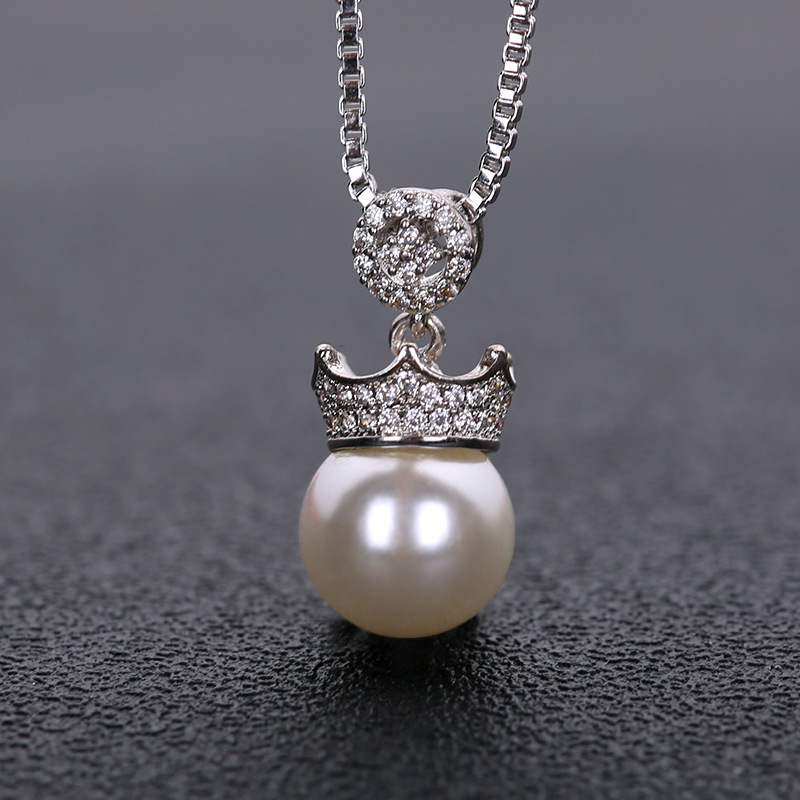PANSYSEN Elegant Queen Crown 10mm Natural Freshwater Pearl Necklace Pendant for Women 100 Real 925 Sterling Silver Necklaces in Pendants from Jewelry Accessories