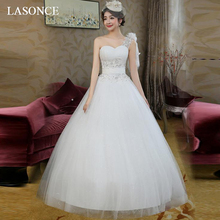 LASONCE Pleat Strapless Lace Appliques Ball Gown Wedding Dresses Flowers One Shoulder Tulle Backless Bridal Gowns