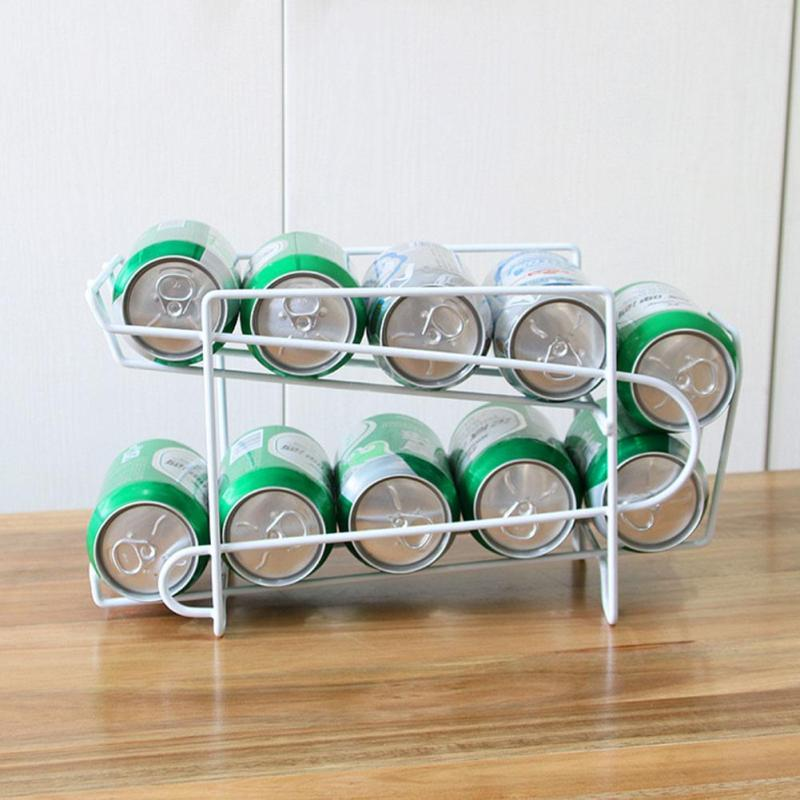 Iron Beverage Beer Rack Storage Organizer Holder Can Tank Kitchen Finishing Refrigerator Fridge Pantry Space Saver Tools