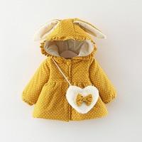 e36e20e15 2018 Warm Winter Baby Coat Girl Jackets Infant Kids Rabbit Ear Hooded  Velvet Printed Flora Parkas. 2018 de bebé invierno cálido abrigo niña ...