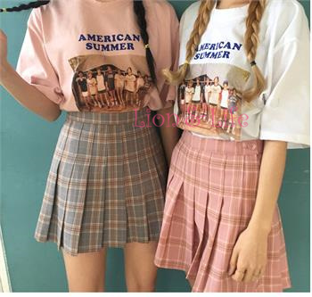 chic cute cute plaid pleated waist skirt School Uniform Womens suit Mini pleated Skirt Ladies school girl Suit Four Seasons