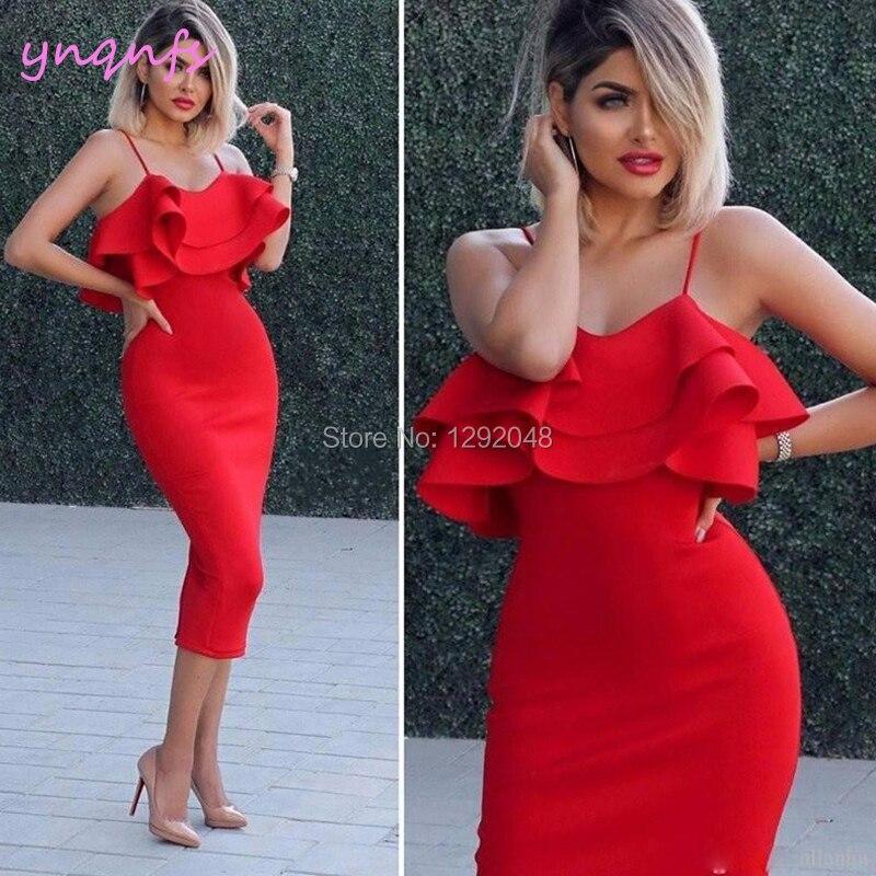 3839 15 De Descuentoynqnfs C18 Chic Satén De Longitud De Té Sin Mangas Vestido De Fiesta Vestido Rojo De Cóctel 2019 In Vestidos De Cóctel From